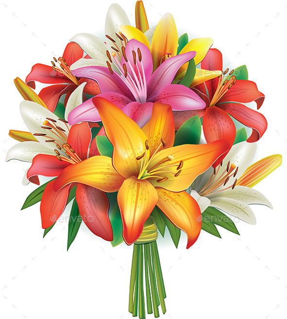 GraphicRiver Bouquet of Lilies 10491077