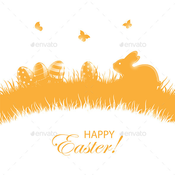 GraphicRiver Orange Background with Easter Eggs and Rabbit 10491091