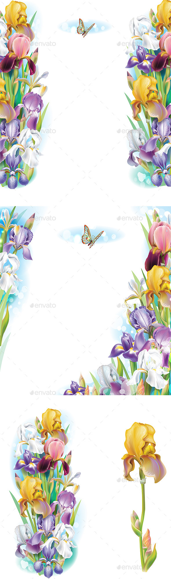 GraphicRiver Set of Borders from Iris Flowers 10491114
