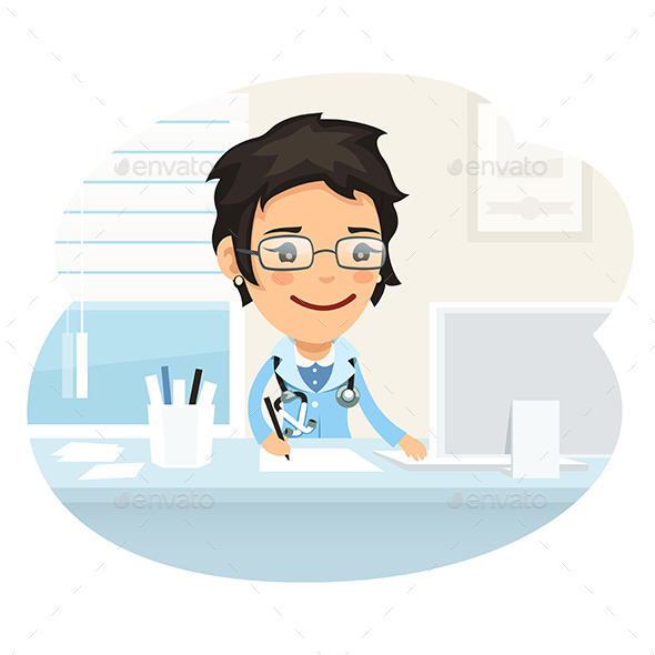 GraphicRiver Woman Doctor Character Sitting at the Desk 10489199