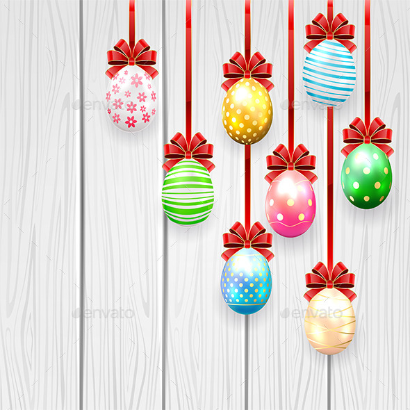 GraphicRiver Easter Eggs with Bow on Wooden Background 10492557