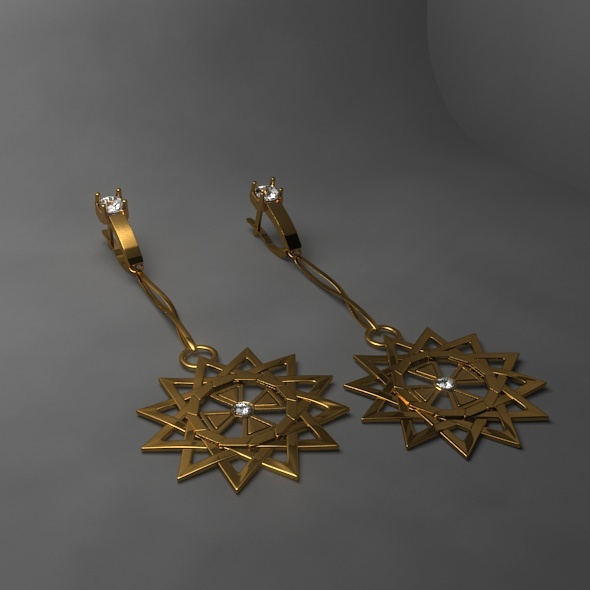 3DOcean Gold Earrings 10492563
