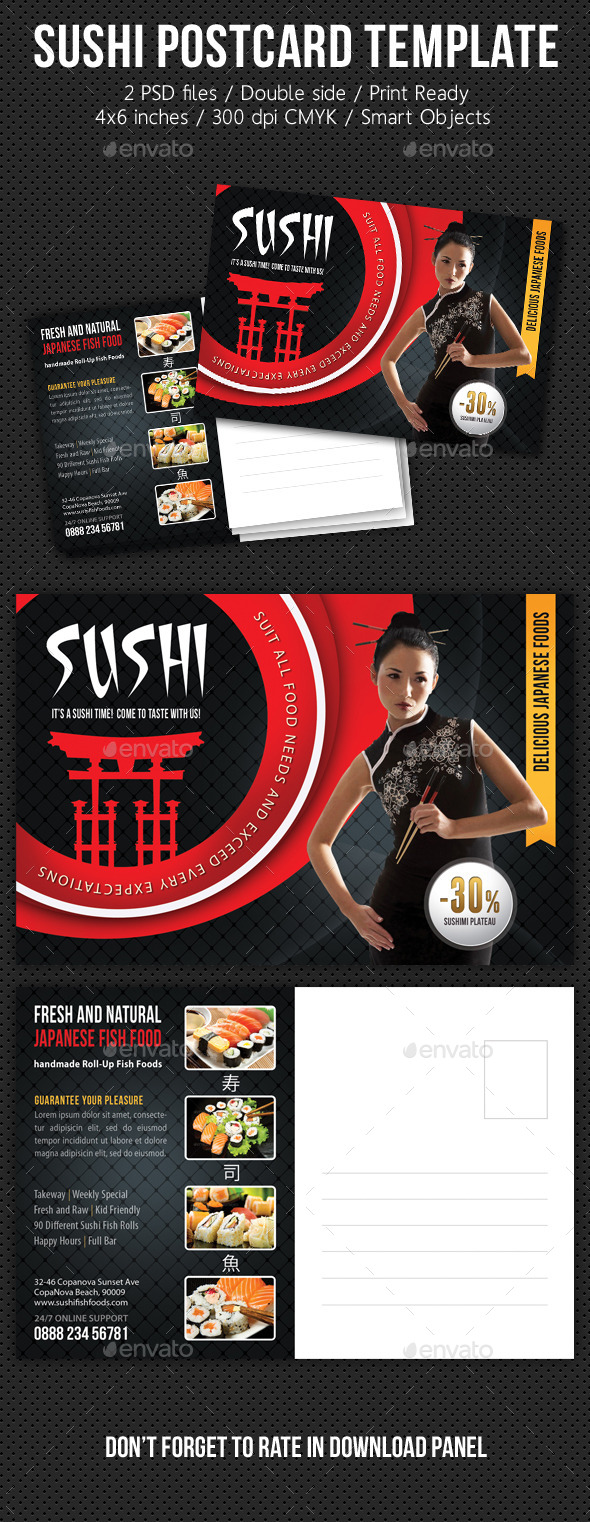 GraphicRiver Sushi Restaurant Postcard Template V01 10492667