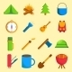 Set of Cartoon Camping Icons - GraphicRiver Item for Sale