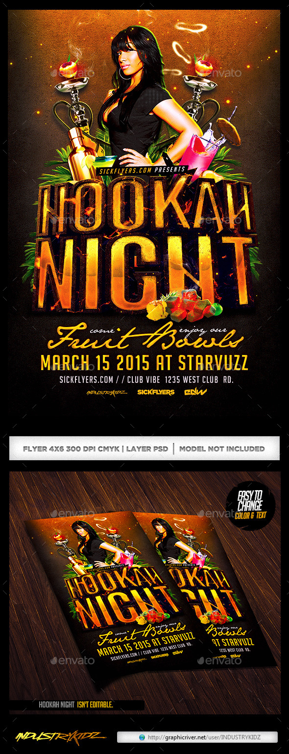 GraphicRiver Hookah Night Flyer Template PSD 10449924