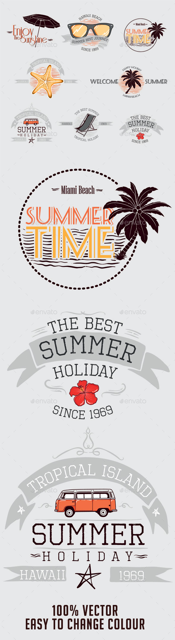 GraphicRiver Summer Badges 10461824