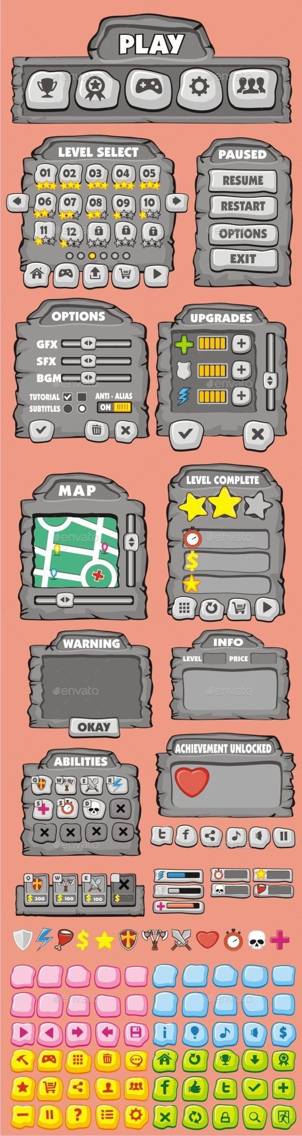 GraphicRiver cartoon game gui pack 6 10493801