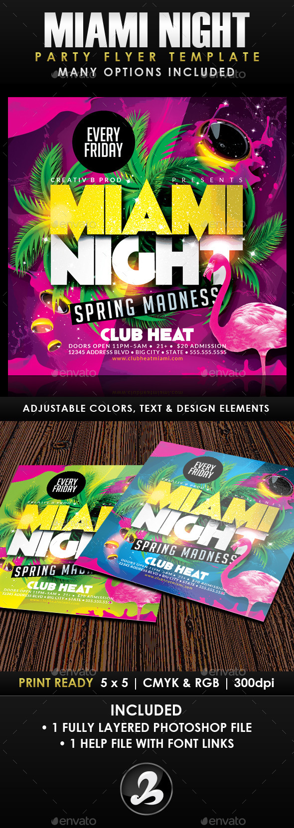 GraphicRiver Miami Night Party Flyer Template 10493830