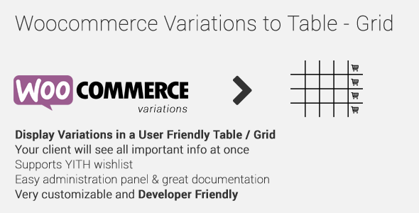 CodeCanyon Woocommerce Variations to Table Grid 10494620