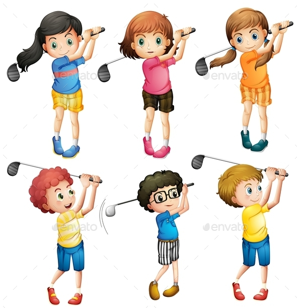GraphicRiver Kids Playing Golf 10494801