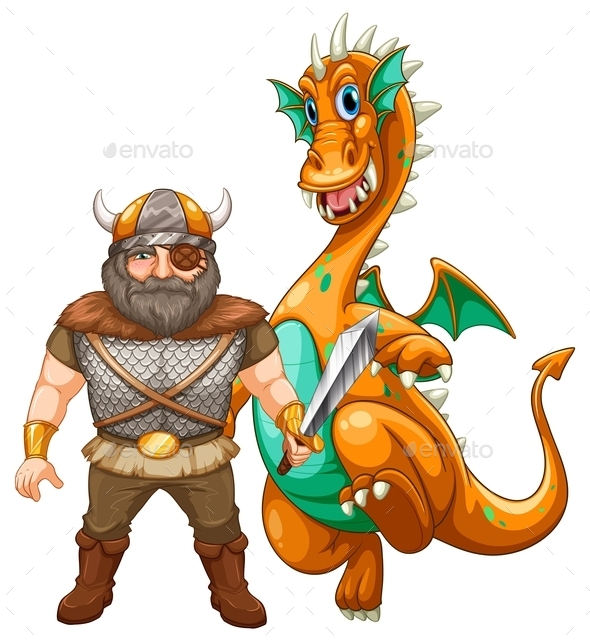 GraphicRiver Viking and Dragon 10494820