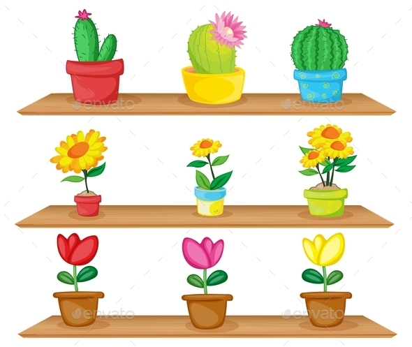 GraphicRiver Wooden Shelves with Ornamental Plants 10494853