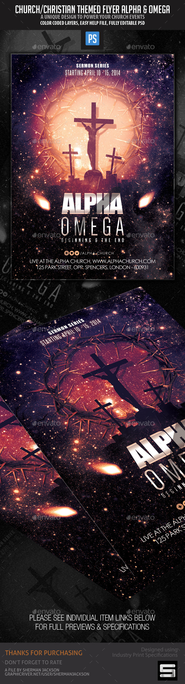 GraphicRiver Church Themed Flyer Alpha & Omega 10496256