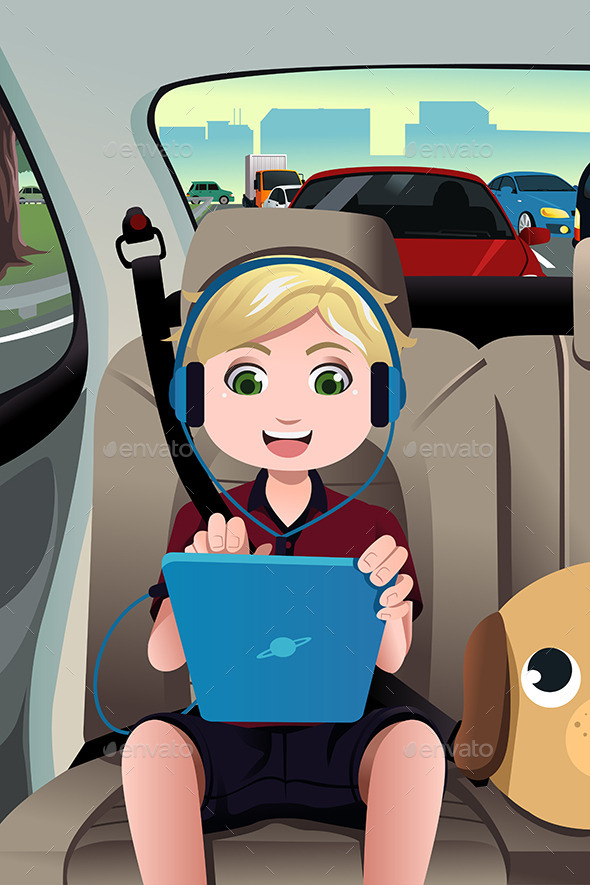 GraphicRiver Kid Riding in the Car 10496281