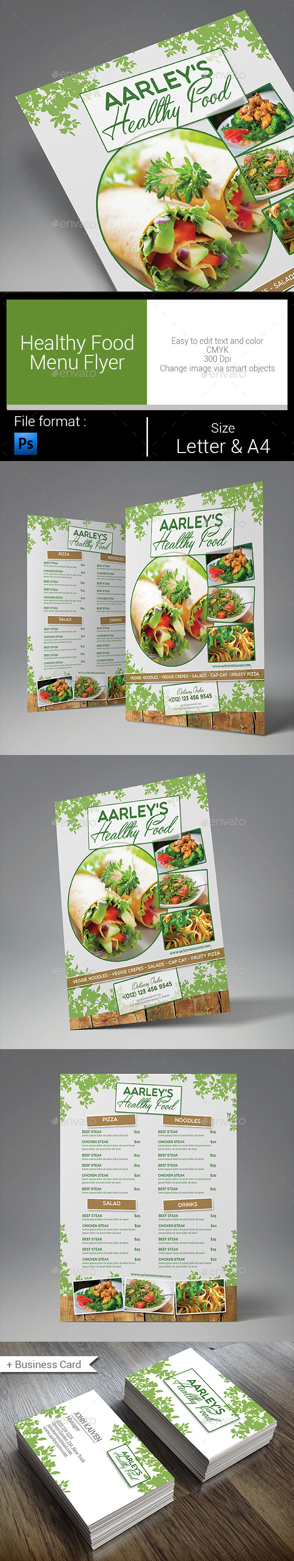 GraphicRiver Healthy Food Menu Flyer 10496914