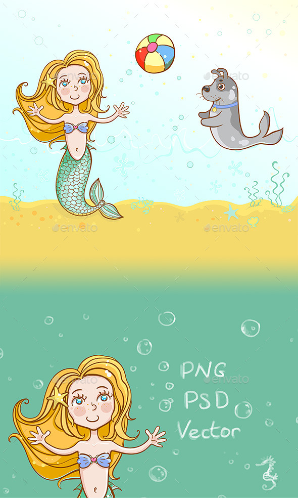 GraphicRiver The Little Mermaid Playing Ball with her Pet Dog 10497356