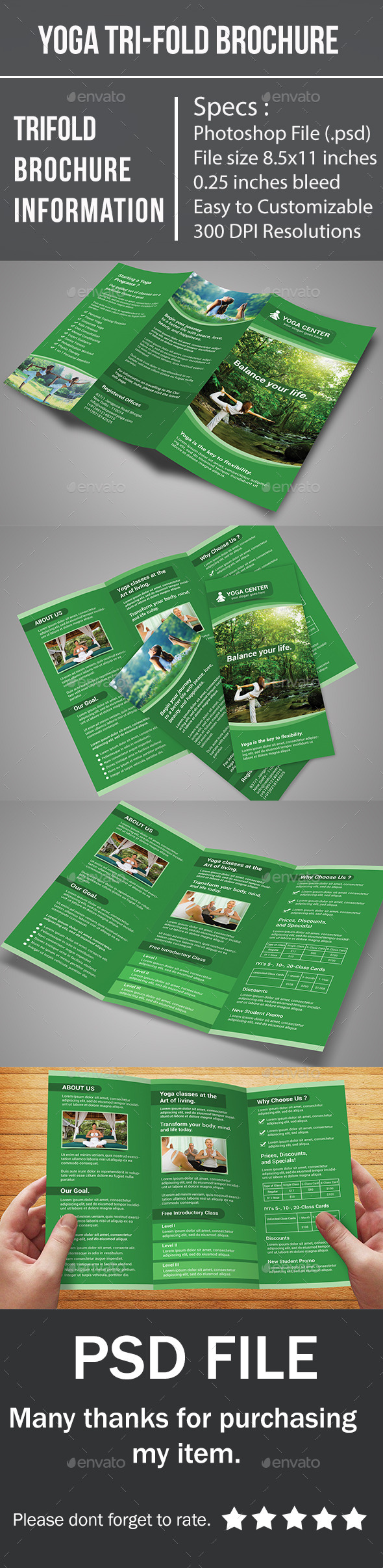 GraphicRiver Yoga Tri-Fold Brochure 10497370