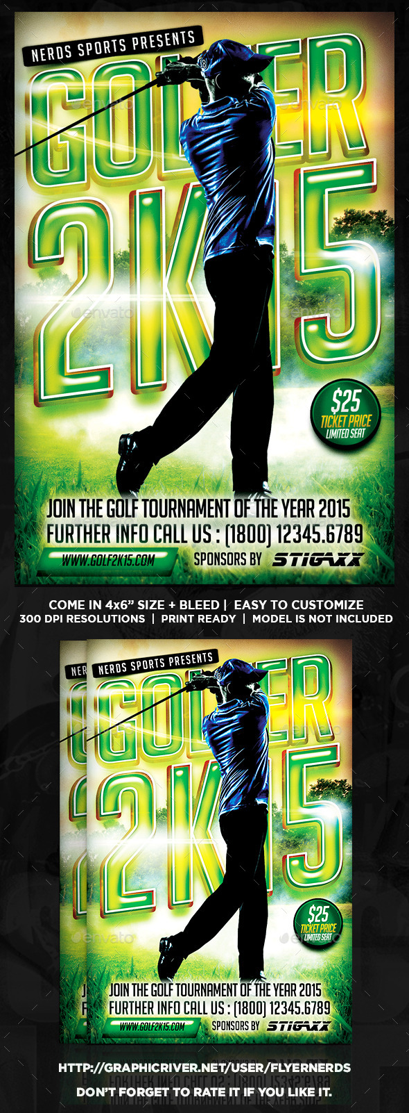 GraphicRiver Golfer 2K15 Tournament Sports Flyer 10497514