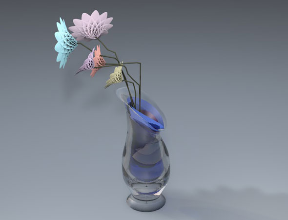 3DOcean vase and flowers 10427567