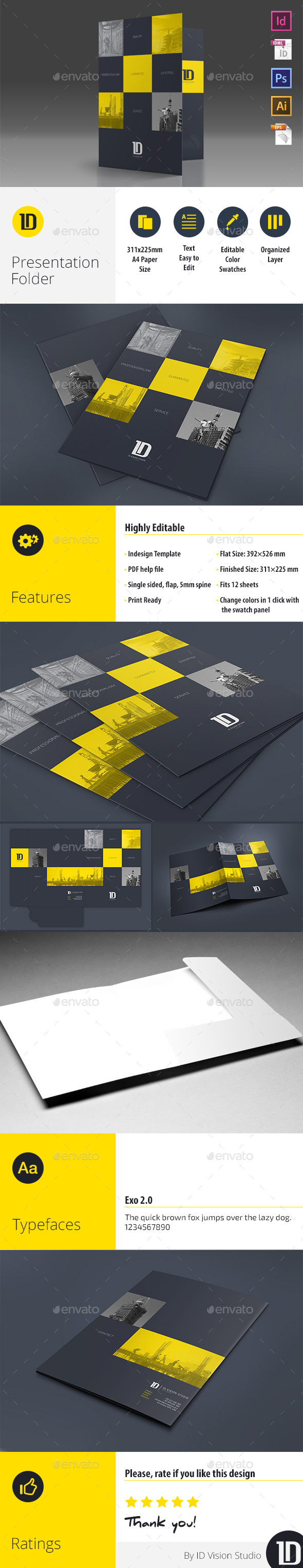 GraphicRiver A4 Self Locking Multipurpose Presentation Folder 10497712