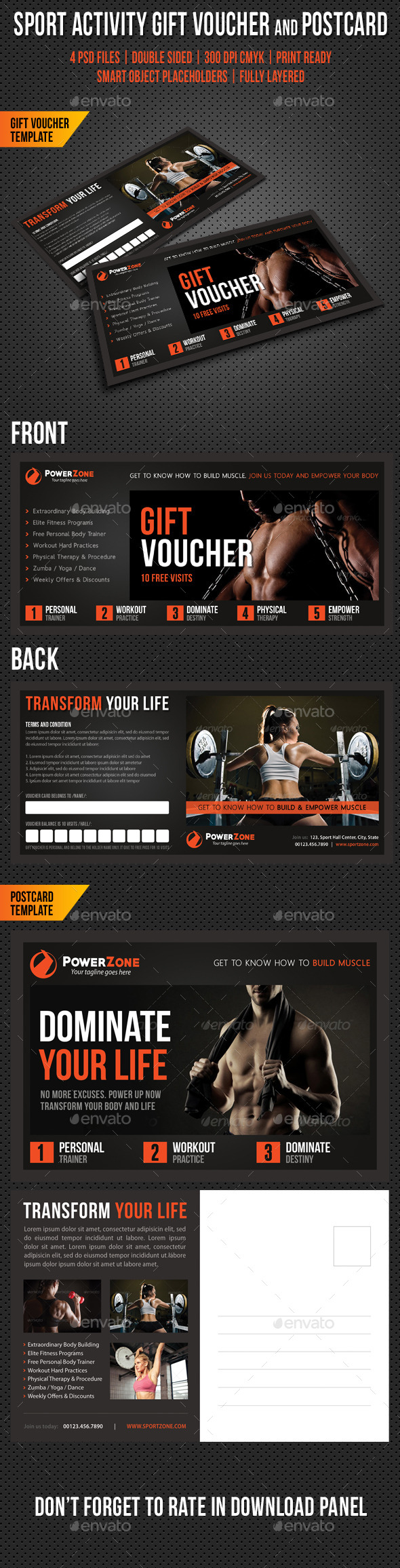 GraphicRiver Sport Activity Gift Voucher and Postcard V03 10498004