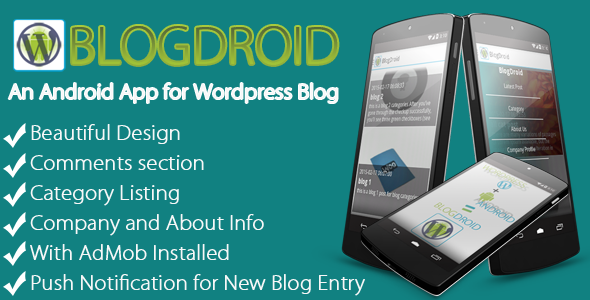 CodeCanyon BlodDroid Premium Wordpress Blog App with Push 10498132