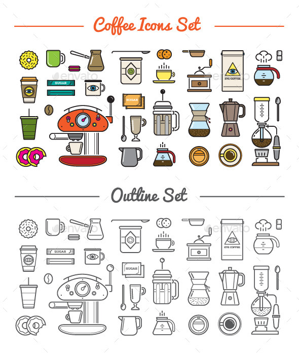 GraphicRiver Great 32&32 Vector Coffee Icons Set 10498144