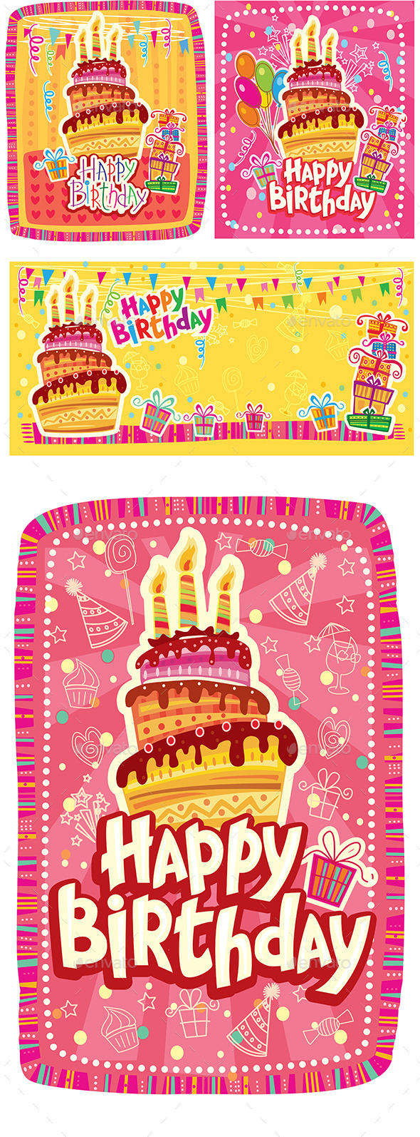 GraphicRiver Set of Happy Birthday Cards 10498365