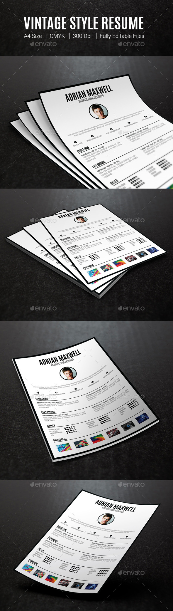 GraphicRiver Vintage Style Resume 10498393