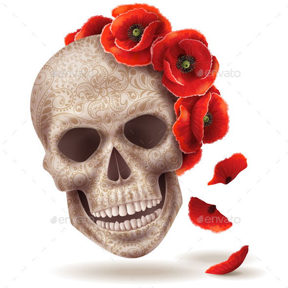 GraphicRiver Skull Mask with Poppy Flowers 10498477
