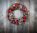 Christmas wreath on wooden background - PhotoDune Item for Sale