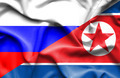 Waving flag of North Korea and Russia - PhotoDune Item for Sale