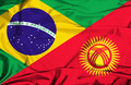 Waving flag of Kyrgyzstan and Brazil - PhotoDune Item for Sale