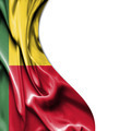 Benin waving satin flag isolated on white background - PhotoDune Item for Sale
