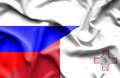 Waving flag of Malta and Russia - PhotoDune Item for Sale