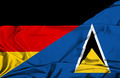 Waving flag of St Lucia and Germany - PhotoDune Item for Sale