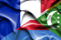 Waving flag of Comoros and France - PhotoDune Item for Sale