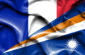 Waving flag of Marshall Islands and France - PhotoDune Item for Sale