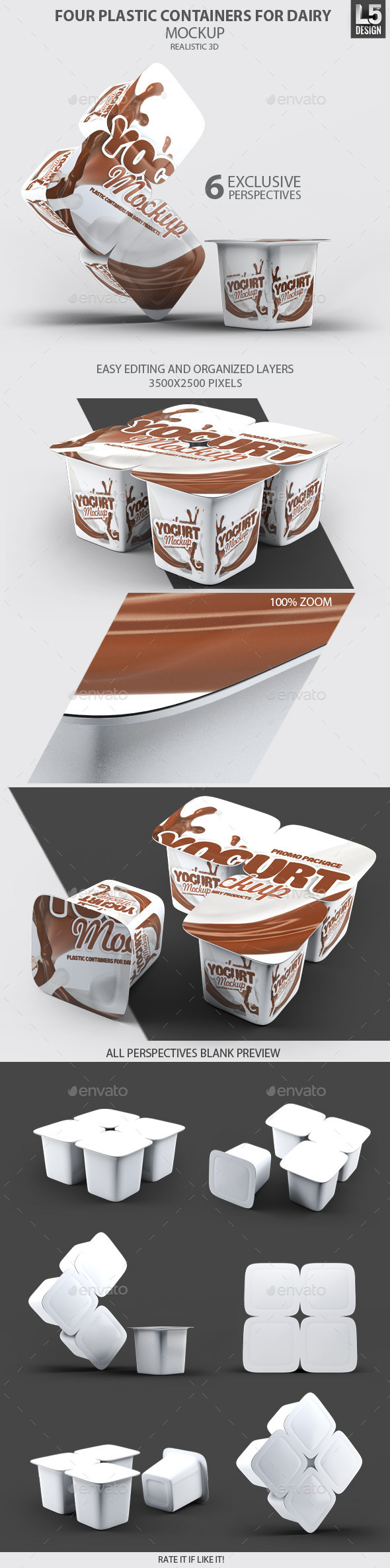 GraphicRiver Four Plastic Containers for Dairy Mock-Up 10498797
