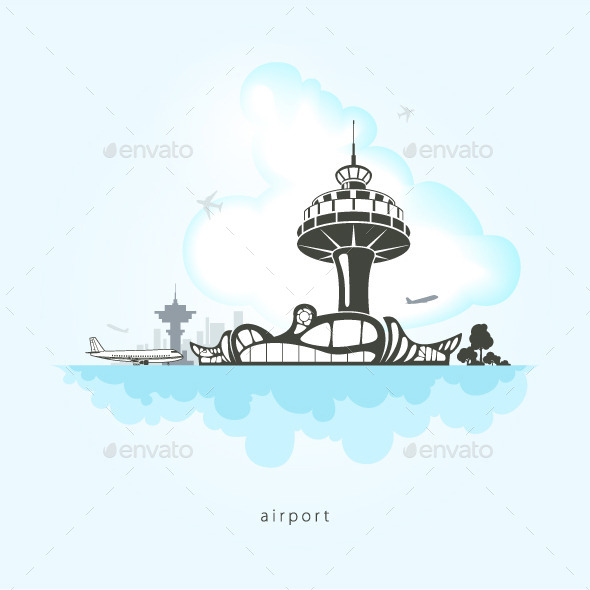 GraphicRiver Airport with Planes and Control Tower 10498889