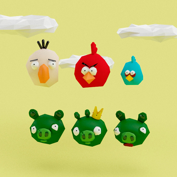 3DOcean Angry Birds Low Poly 10499025