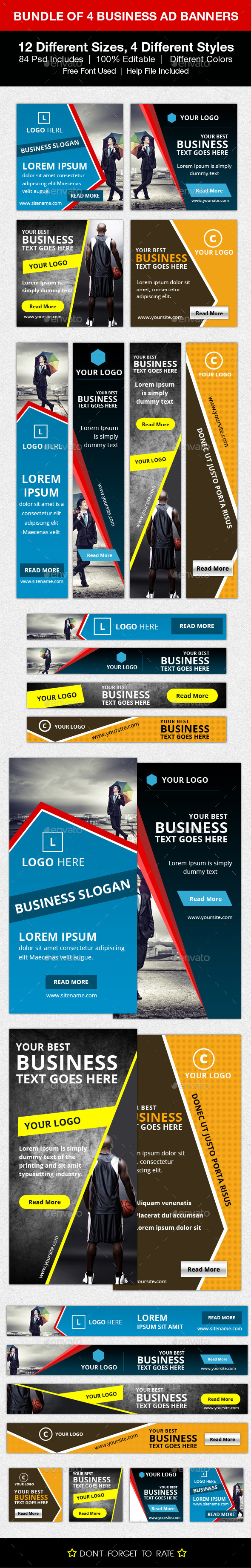 GraphicRiver Bundle of 4 Business Ad Banners 10469946