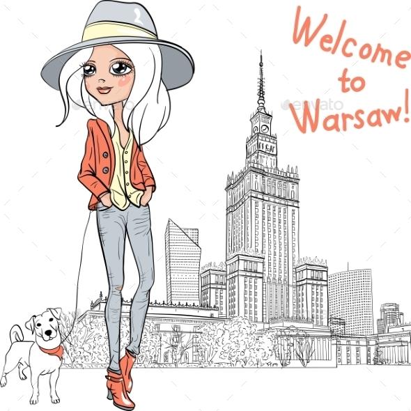 GraphicRiver Fashion Girl in Warsaw 10499333