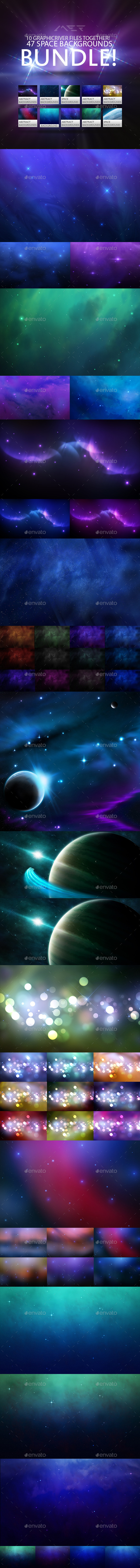 GraphicRiver Space Backgrounds Mega Bundle 10499628