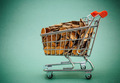 Shopping trolley with coins on a green background - PhotoDune Item for Sale