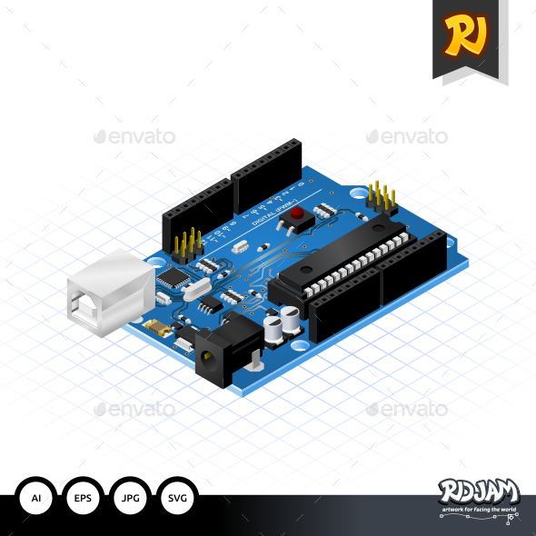 GraphicRiver Isometric Single Board Microcontrollers 10502211