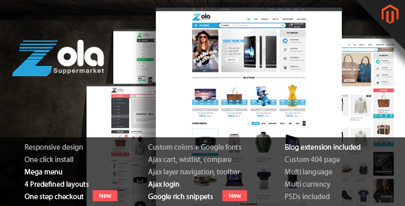 ThemeForest Zola Super Responsive Magento Theme 10502635