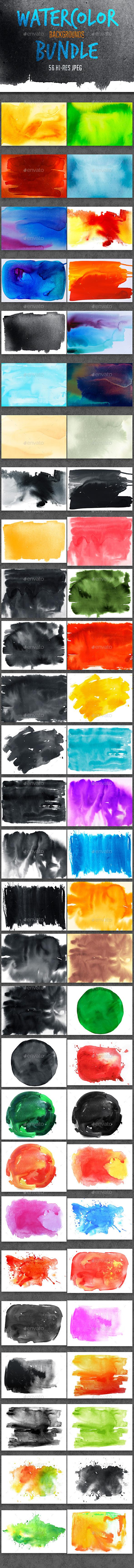 GraphicRiver Watercolor Backgrounds Bundle 10503030