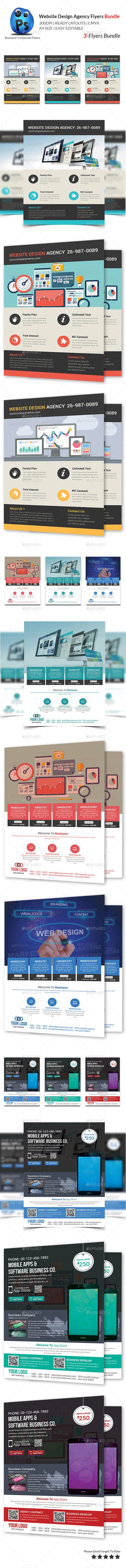 GraphicRiver Website Design Agency 3 Flyer Bundle 10503540