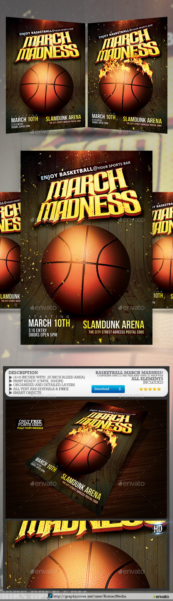GraphicRiver Basketball March Madness Flyer 10503651